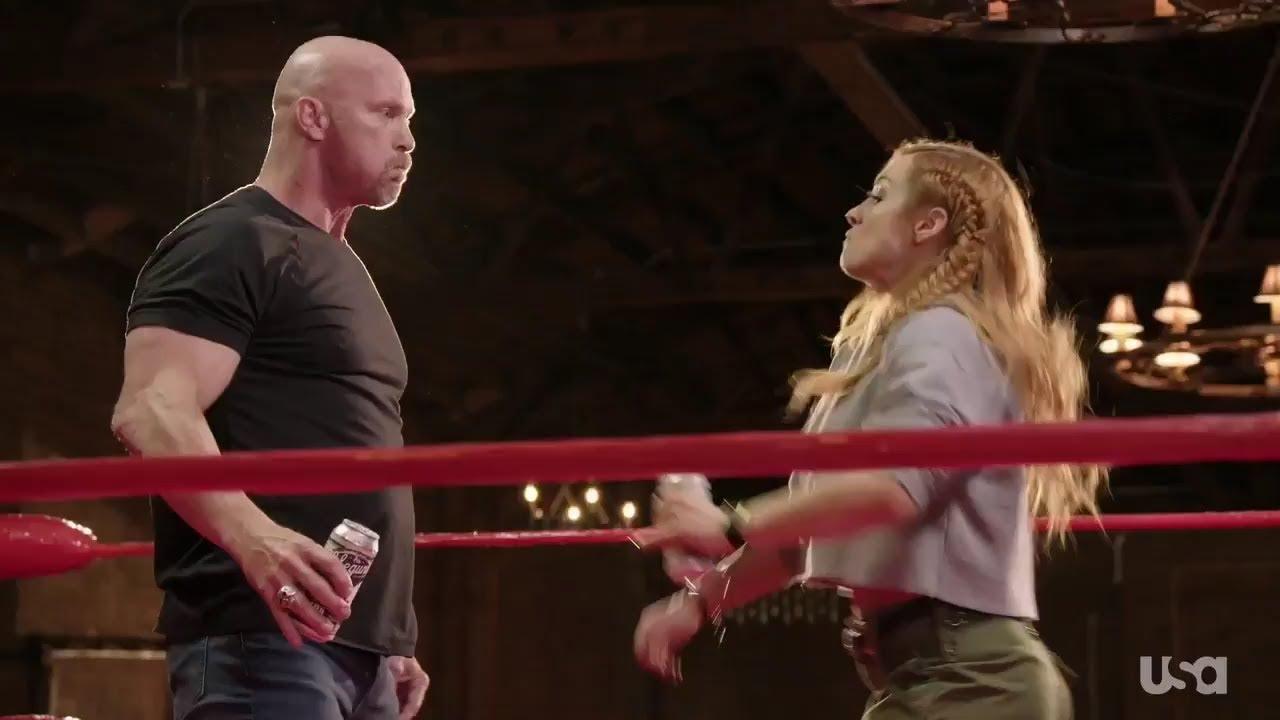 Download Becky Lynch gives Stone Cold Steve Austin a Stunner on 'Straight Up Steve Austin