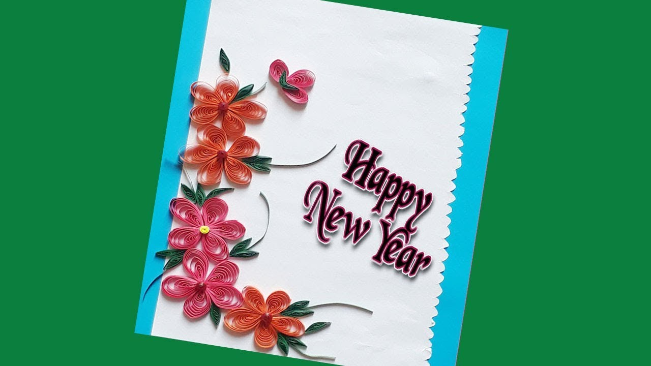 diy new year greeting card paper quilling design siri artcraft