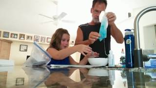 Vienna&#39s first time making blue glitter slime!
