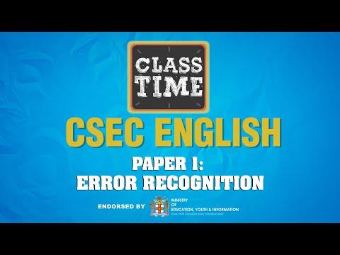 CSEC English - Paper 1: Error Recognition - March 31 2021