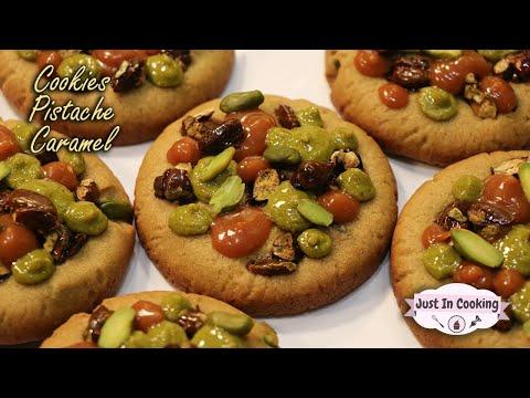 recette-de-cookies-à-la-pistache-et-au-caramel-au-beurre-salé