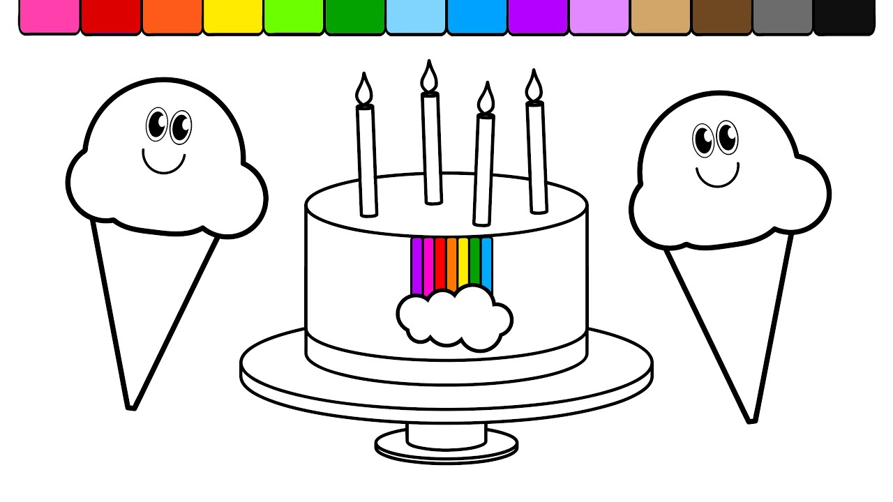 learn colors for kids and color this ice cream and rainbow cake