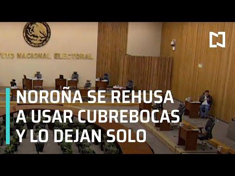 Noroña se niega a usar cubrebocas y lo dejan solo en sesión del INE - En Punto