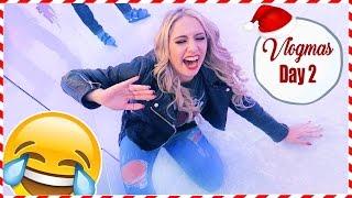 SHE ALMOST BROKE HER LEG ICE SKATING!   VLOGMAS DAY 2