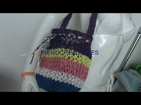 BOLSA TEJIDA CON RAFIA parte 2 ganchillo, crochet purse ...