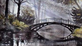 Лесной пейзаж с мостиком акварелью поэтапно