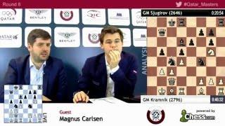 Magnus Carlsen beats Shakhriyar Mamedyarov, rd8 post game analysis - Qatar Masters Open 2015