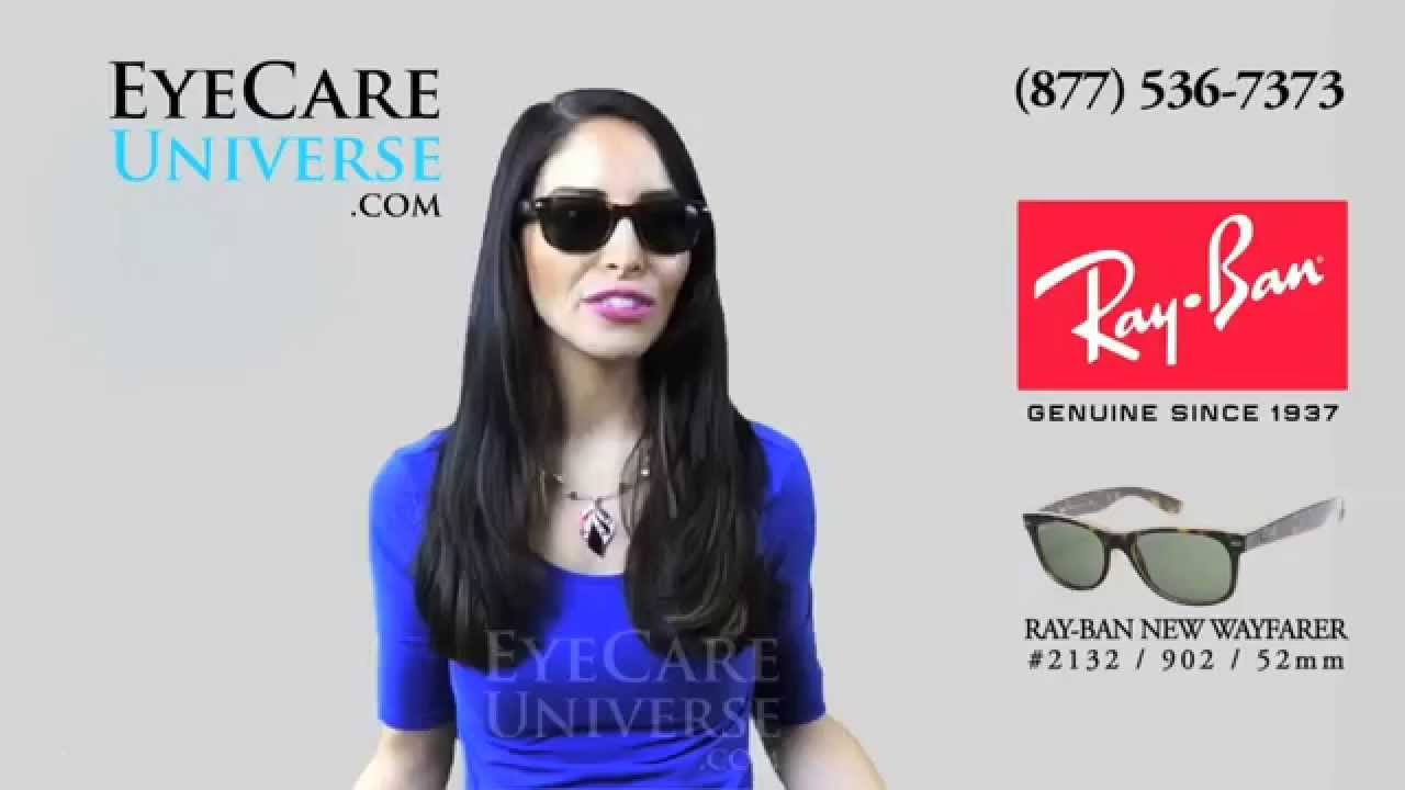 29728b1d82b Ray Ban New Wayfarer Sunglasses RB2132 902 52mm Review - YouTube