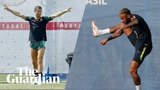 Neymar and Ronaldo pull off trick shots in World Cup training