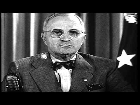 President Harry S.Truman warns that Japan will face the same complete destruction...HD Stock Footage