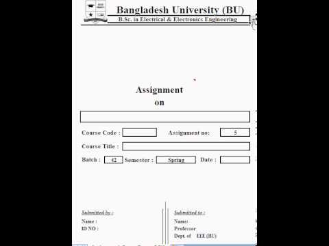BU Assignment Cover Page - YouTube