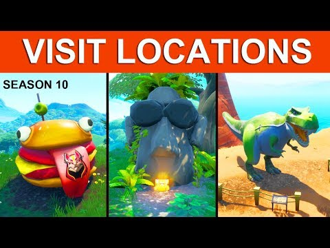 Visit A Drift Painted Durr Burger Head, A Dinosaur, And A Stone Head Statue! LOCATION FORTNITE GUIDE