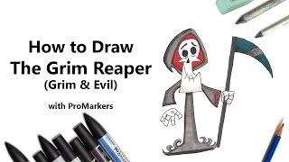 How to Draw The Grim Reaper from Grim & Evil with ProMarkers [Speed Drawing]