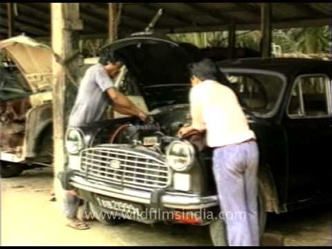 Repairing an Ambassador car in India: a bit of nostalgia from the 1970's