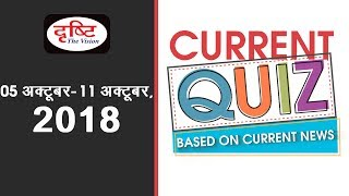 Current Quiz (Based on Current News) - 05th Oct - 11th Oct. 2018