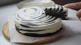 [NO VOICE] Làm bánh cheesecake mè đen không lò,không máy