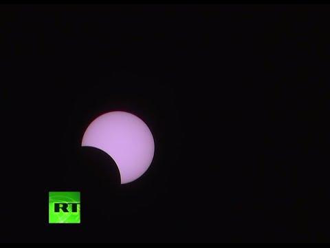 Solar eclipse over Reunion Island