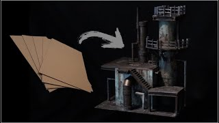 40k Terrain from ONLY CARDBOARD! - Warhammer 40,000 Necromunda Kill Team Industrial Tutorial