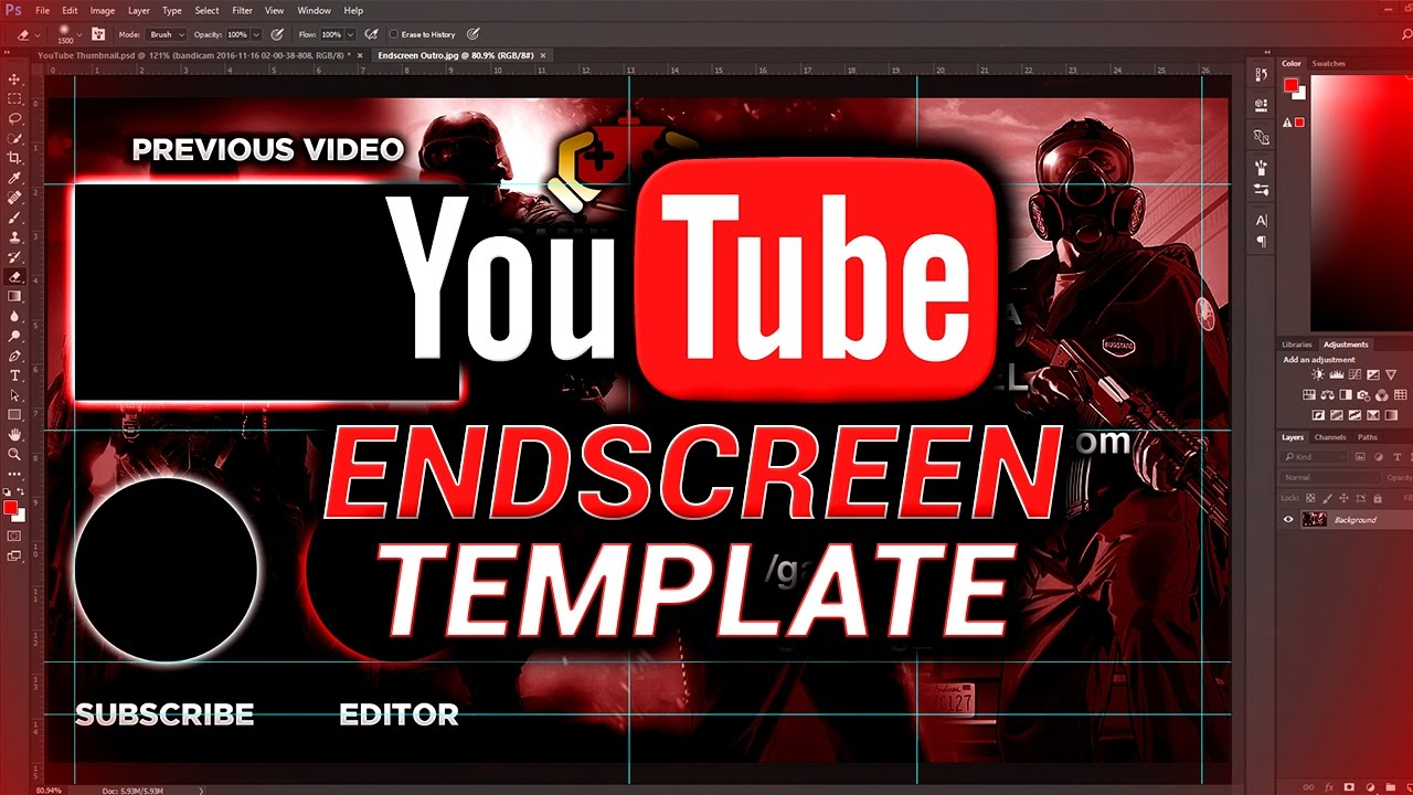 FREE YouTube Outro Endscreen Template (Photoshop Download) - YouTube