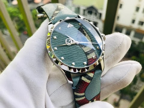 Xship.vn: GUCCI G-Timeless Blue With Kingsnake Head Print Dial Leather YA1264080