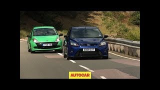 Renaultsport Clio 200 Cup v Ford Focus RS - autocar.co.uk(The chase is on around the Millbrook testing ground. For more Renault news and reviews visithttp://www.autocar.co.uk/renault/, 2009-06-17T10:30:54.000Z)