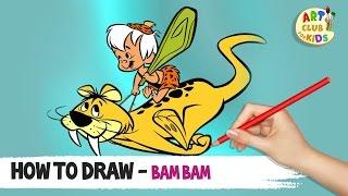 How to draw Bam Bam | The Flinstones | Cartoon Network | Art Club for Kids