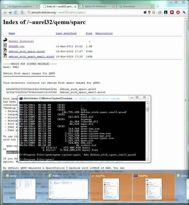 Running a Big Endian Debian Sparc System in Qemu on Windows Part 1 (HD)