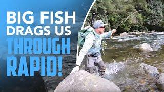 BIG FISH Drags Us THROUGH Rapid!