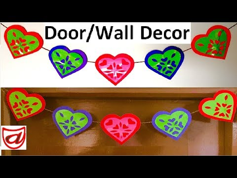 Paper Heart Door decor with snowflake design | DIY wall hanging craft | Home decorating ideas