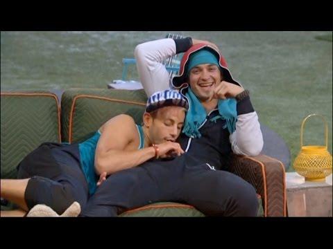 7/28 1:59am - Frankie Sneaks A Peek Inside Caleb's Onesie While Zach Fumes