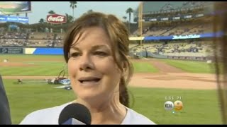 Marcia Gay Harden, First Pitch at L.A. Dodgers Game