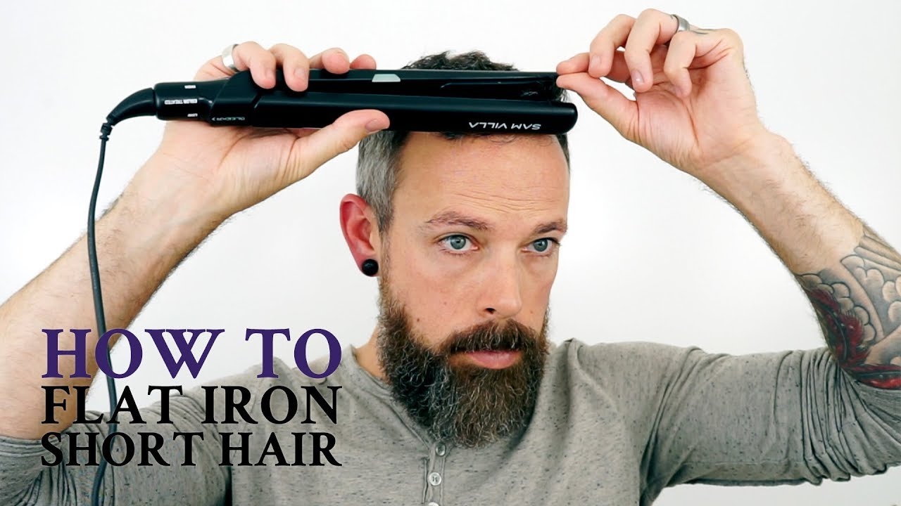 how to use a flat iron on men 39 s short hair youtube. Black Bedroom Furniture Sets. Home Design Ideas
