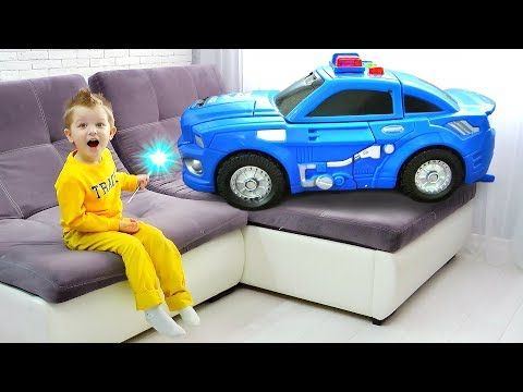 HUGE Toy Cars for kids | Max Increased Police Car with a magic wand thumbnail