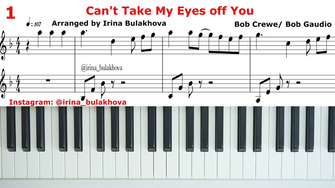 I LOVE YOU BABY Piano CAN'T TAKE MY EYES OFF YOU score music sheets Partitura Tutorial How to play