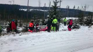 Rally Sweden 2017 SS14 Meeke crash