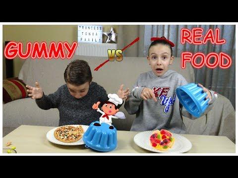 Gummy VS Real Food CHALLENGE/PrincessToniaFamily!