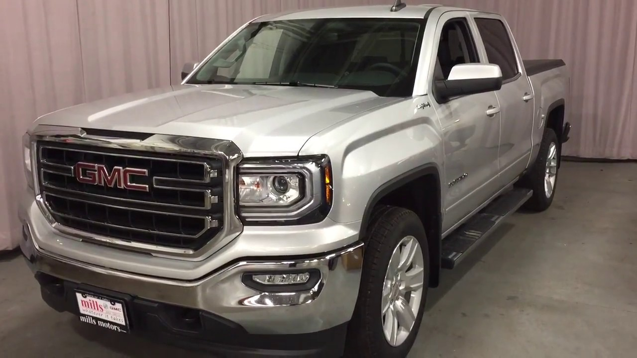 2018 gmc sierra 1500 sle crew cab heated seats spray on liner silver oshawa on stock 180221. Black Bedroom Furniture Sets. Home Design Ideas