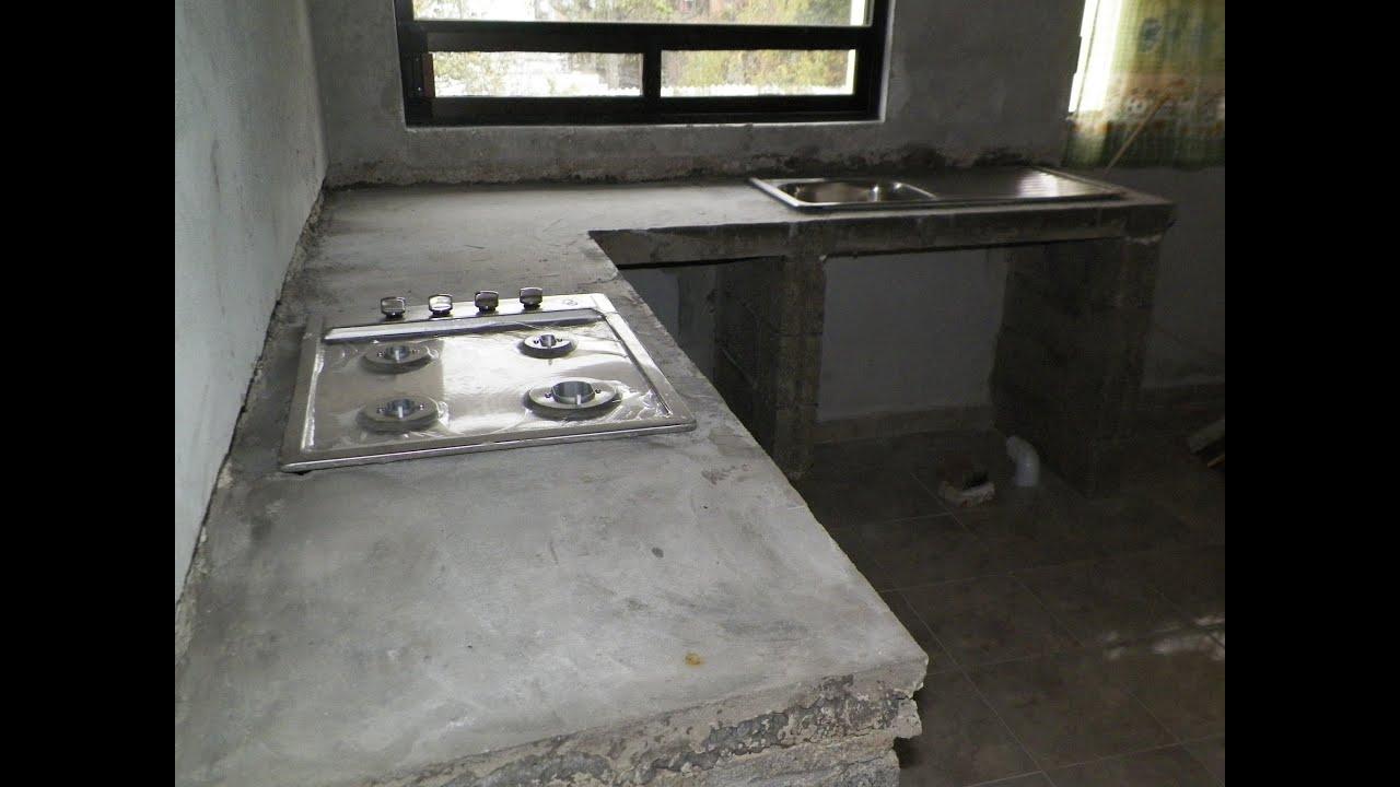 Barra de cocina de cemento empotrada remodelacion de - Barras para cocinas ...