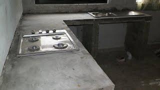 barra de cocina, de cemento, empotrada. kitchen bar