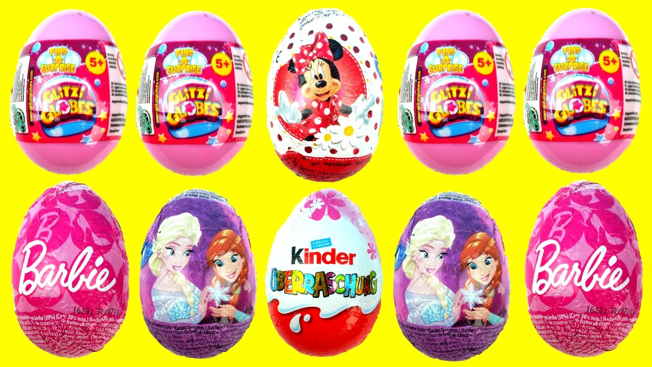 Surprise Eggs Opening Minni Mouse Barbie Glitzi Globes Frozen Kinder ❤ Cool Disney Toys Fun 4 Kids