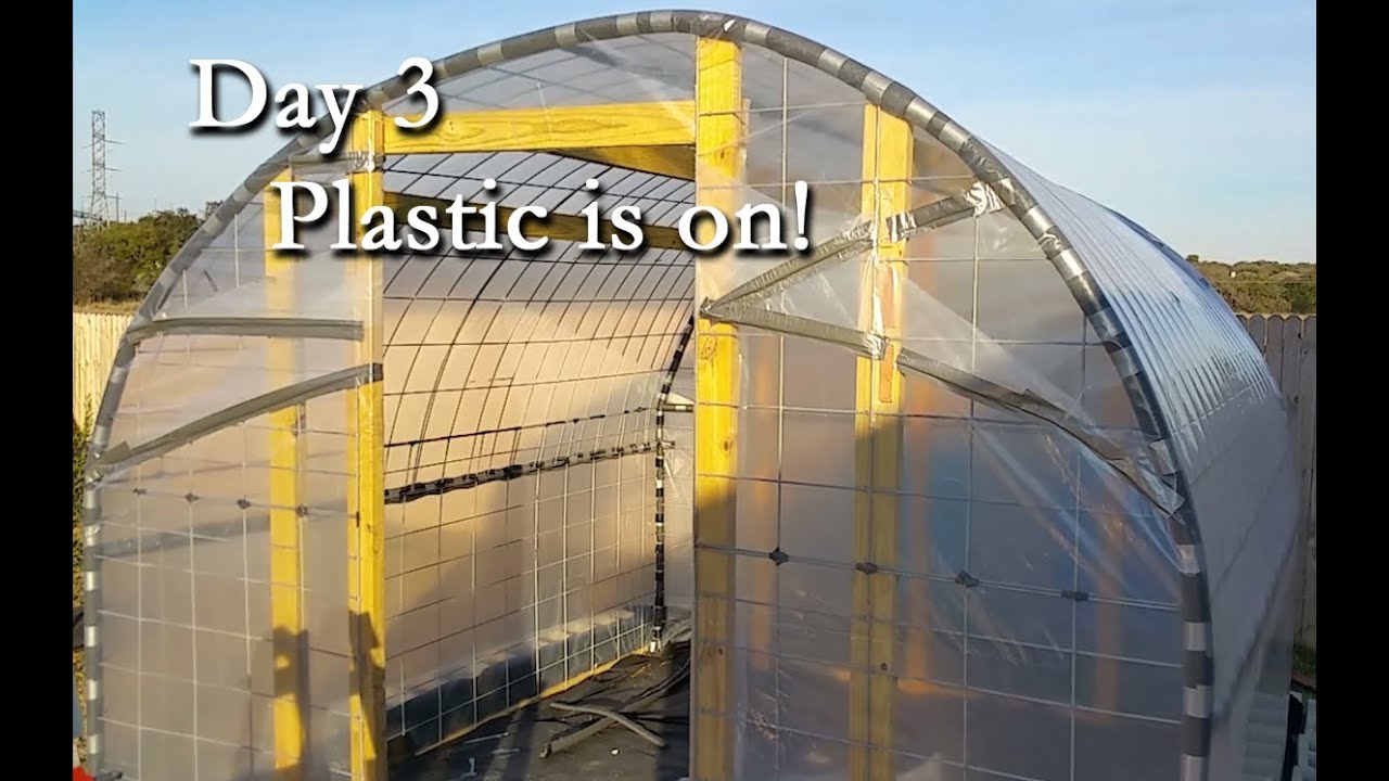 Day Video 3 Of Diy Greenhouse Built With Cattle Panels