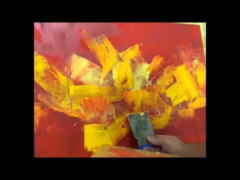 Dipingere astratto in rosso-painting abstract in red - YouTube