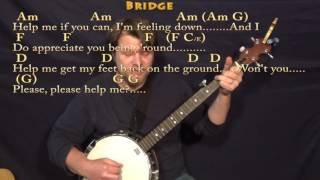Help! (The Beatles) Banjo Cover Lesson in Am with Chords/Lyrics Mp3