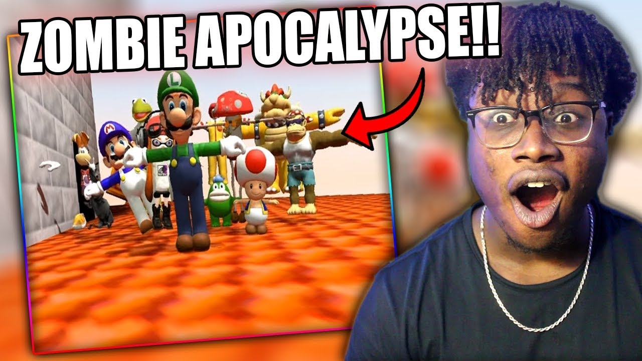 MARIO FIGHTS OFF THE ZOMBIE APOCALYPSE! | SMG4: Mario And The T-Pose Virus Reaction!