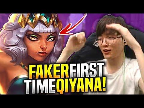 FAKER FIRST TIME QIYANA! - SKT T1 Faker Plays New Champion Qiyana vs Fizz Mid!   S9 KR SoloQ