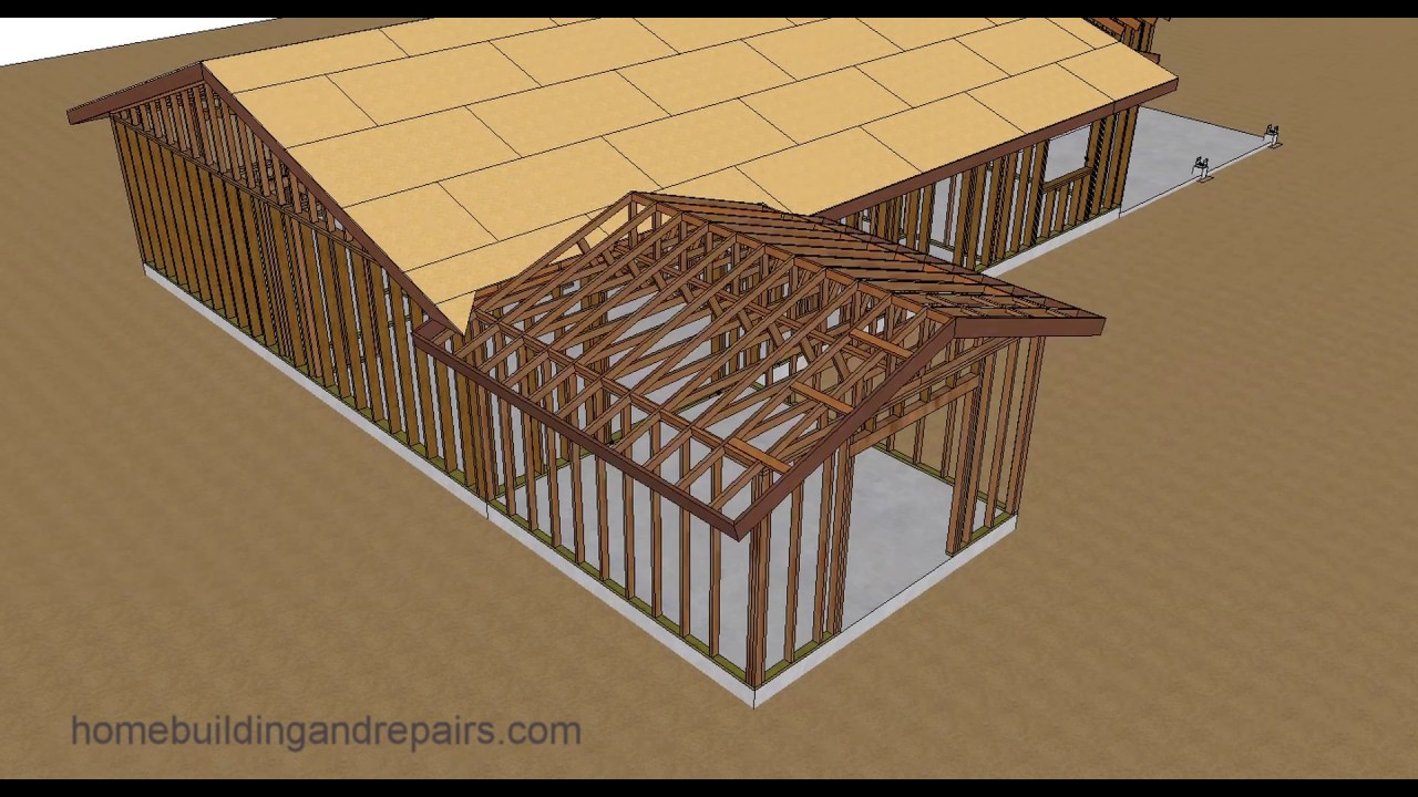 Gable roof trusses with fill home addition roof framing youtube
