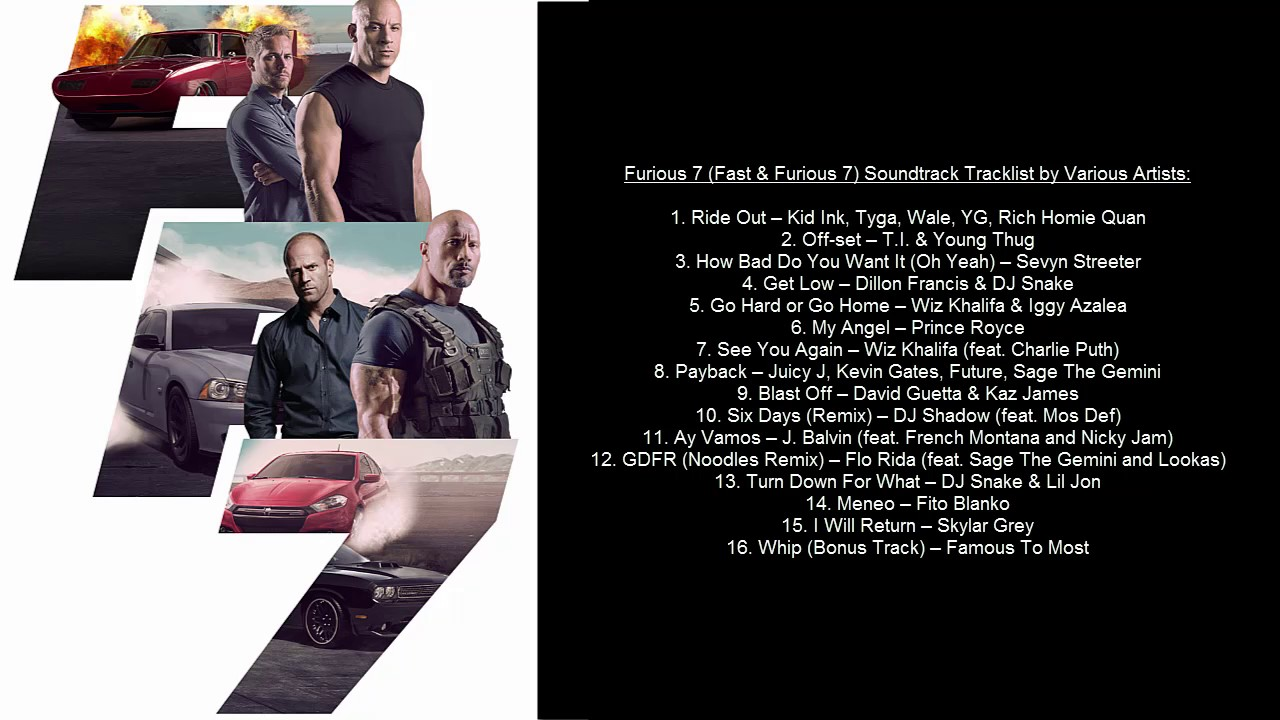 Furious 7 Soundtrack Tracklist By Various Artists Youtube