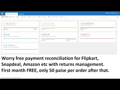 How to reconcile your payments, charges & returns for Flipkart, Snapdeal, Amazon etc -Hindi
