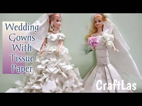 2 Diy Barbie Wedding Gowns With Tissue Paper Barbie Wedding Hacks