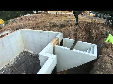 Precast basement steps install youtube for Prefab basement walls cost